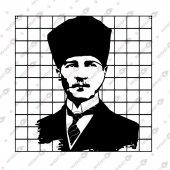çerçeveli Ulu Önder Atatürk Portre Dekoratif Lazer Kesim Metal Tablo 50x50