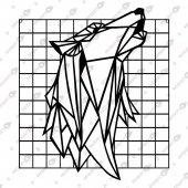 çerçeveli Uluyan Kurt Dekoratif Lazer Kesim Metal Tablo 50x57