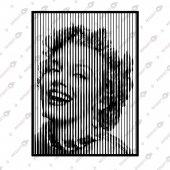 Lıne Art Marılyn Monroe Dekoratif Lazer Kesim Metal Tablo 67x90