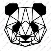Geometrik Panda Dekoratif Lazer Kesim Metal Tablo 50x50