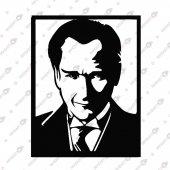 çerçeveli Atatürk Dekoratif Lazer Kesim Metal Tablo 50x65