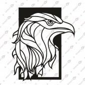 Kara Kartal Dekoratif Lazer Kesim Metal Tablo 52x61