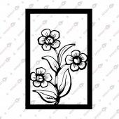 çiçek Tablo Dekoratif Lazer Kesim Metal Tablo 60x90