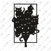 Kediler Dekoratif Lazer Kesim Metal Tablo 45x70