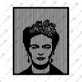 Lıne Art Frıda Kahlo Dekoratif Lazer Kesim Metal Tablo 52x63