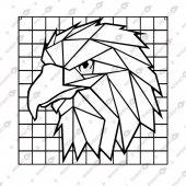 Geometrik Kartal Dekoratif Lazer Kesim Metal Tablo 70x70