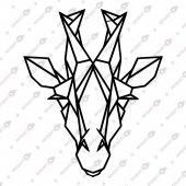 Geometrik Zürafa Dekoratif Lazer Kesim Metal Tablo 52x62