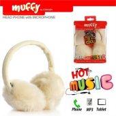 Muffy Mf 018 Mikrofonlu Beyaz Peluş Kulaklık