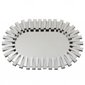 Fidex Home Lüks Piyano Modern Elips Büyük Ayna 118cm Gümüş
