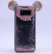 Galaxy S8 Plus Kılıf Zore Micky Taşlı Sıvılı Silikon-2