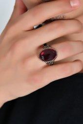 Kızıl Akik Karaca İşlemeli 925 Ayar Gümüş Yüzük Dbse1013