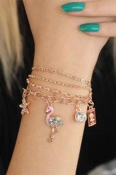 Flamingo Figürlü Rose Renk Bayan Bileklik