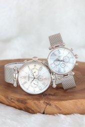 Silver Renk Hasır Metal Mıknatıslı Kordonlu Şık Kasa Sevgili Saatleri