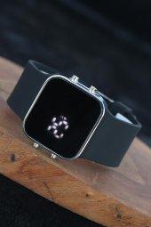 Siyah Silikon Kordonlu Silver Metal Kasa Unisex Model Dijital Saat