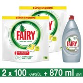 Fairy Hepsi Bir Arada Bulaşık Makinesi Deterjanı Kapsülü Limon Kokulu 100 Yıkama 2li Paket + Platinum Sıvı Bulaşık Deterjanı Limon 870 Ml + Sünger