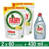 Fairy Hepsi Bir Arada Bulaşık Makinesi Deterjanı Kapsülü Limon Kokulu 60 Yıkama 2li Paket + Platinum Sıvı Bulaşık Deterjanı Limon 430 Ml