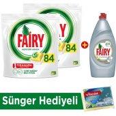 Fairy Hepsi Bir Arada Bulaşık Makinesi Deterjanı Kapsülü Limon Kokulu 84 Yıkama 2li Paket + Platinum Sıvı Bulaşık Deterjanı Limon 870 Ml + Sünger