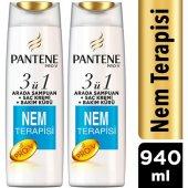 Pantene 3ü 1 Arada Şampuan + Krem + Bakım Kürü Nem Terapisi 470 Ml X 2