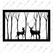 Ormandaki Ceylanlar Dekoratif Lazer Kesim Metal Tablo 46x72