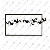 özgürlüğe Uçan Kuşlar Dekoratif Lazer Kesim Metal Tablo 42x72