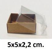 50 Adet Asetat Kapaklı Kraft Kutu 5x5x2,2 Cm.
