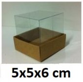 50 Adet Asetat Kapaklı Kraft Kutu 5x5x6 Cm.