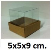 50 Adet Asetat Kapaklı Kraft Karton Kutu 5x5x9 Cm.