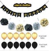 Gold Siyah Konsepti Doğum Günü Parti Süsleri Malzeme Seti