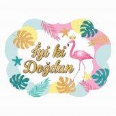5 Adet Flamingo İyi Ki Doğdun Baskılı Konuşma Balonu Çubukları