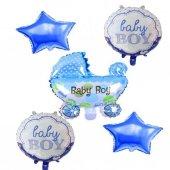 5li Mavi Bebek Baby Shower Temalı Folyo Balon Helyumla Uçan
