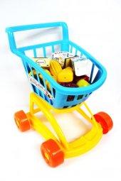 Dede Oyuncak Market Arabası Mavi İçi Dolu