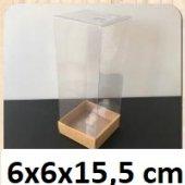50 Adet Asetat Kapaklı Kraft Kutu 6x6x15,5 Cm.