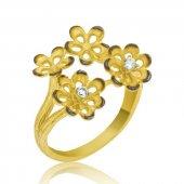 Gümüş Sarı Çiçek Bayan Yüzük