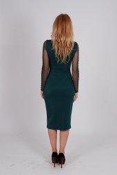 Kolu Tül Payet Detaylı Elbise YEŞİL-4