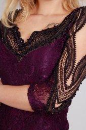 Sırt Detaylı Boncuklu Küpür Dantelli Abiye Elbise MOR-6