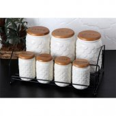 Gönül Bambu Kapaklı Porselen Baharat Takımı 7 Parça G1923