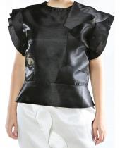 Tantrona Saten Slim Fit Fırfırlı Kısa Kol Abiye Bluz