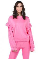 Tantrona Oversize Bol Kesim Fırfırlı Parlak Reglan Pembe Bluz