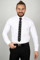 DeepSEA Beyaz Slim Fit Kabartma Desenli Gömlek 2005171