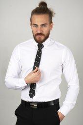 DeepSEA Beyaz Slim Fit Kabartma Desenli Gömlek 2005171-5