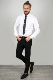 DeepSEA Beyaz Slim Fit Kabartma Desenli Gömlek 2005171-2