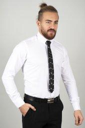 DeepSEA Beyaz Slim Fit Kabartma Desenli Gömlek 2005171-3