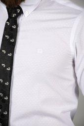 DeepSEA Beyaz Slim Fit Kabartma Desenli Gömlek 2005171-4