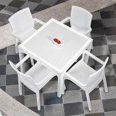 Holiday Markiz Rattan Camlı Bahçe Balkon Masa Takımı 4 Sandalyeli