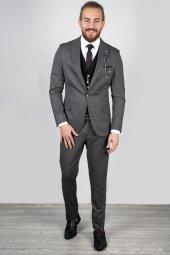 DeepSEA Antracite Yelek Zincir Aksesuarlı Takım Elbise 2001120-2