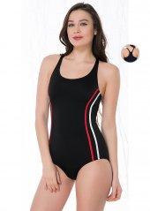 Yüzücü Kırmızı Siyah Astar Kaplı Mayo
