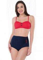 Kırmızı Lacivert Yüksek Bel Boş Kaplı Bikini