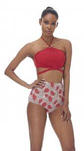 Kırmızı Yüksek Bel Gelincik Desenli Bikini