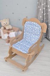 ücretsiz Kargo Mavi Minderli Ahşap Çocuk Sandalyesi