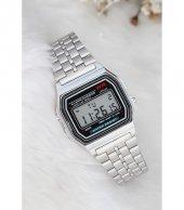 Gümüş Renk Retro Digital Kol Saati (Büyük Boy)